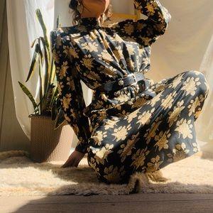 Dreamy Boho Vintage Floral Silk Dress